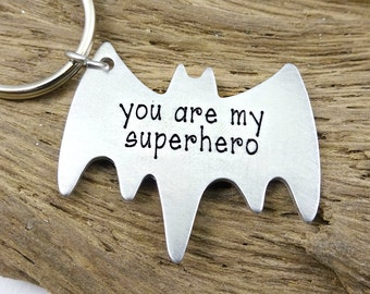 Superhero Key Chain -  Batman Key Ring - Fathers Day - Valentine's Day - Boyfriend Husband Partner Dad Daddy Grandpa