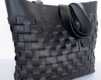 Black Leather Tote Bag , Market Bag , Everyday Bag,Black Leather Tote,Leather Tote,Woven Leather Tote,RWOODB  Leather Tote,