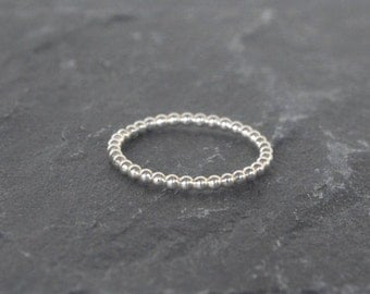 Silver beaded ring - PERLISIENNE ring - Stackable ring