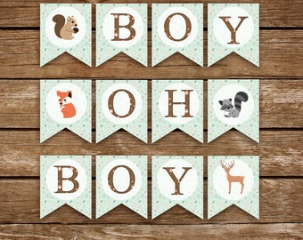 Woodland Baby Shower Banner, Boy Oh Boy. Animals Sign, Boy Shower - Printable - INSTANT DOWNLOAD, Digital file (12 Flags)