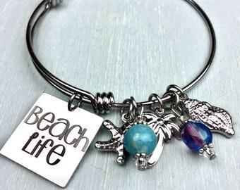 Beach Life Adjustable Bangle Charm Bracelet