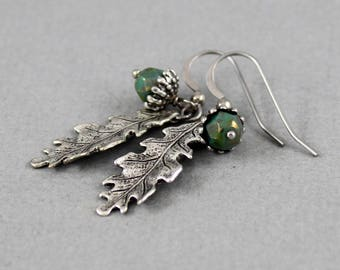 Picasso Green Acorn earrings - vintage style antique silver earrings