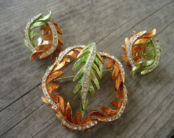 Leaf Brooch and Earring Set