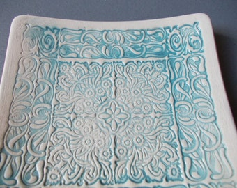 Light Blue Dish / Small Dish / Ceramic Moroccan dish / Kitchen decor / Ring dish / Bathroom decor