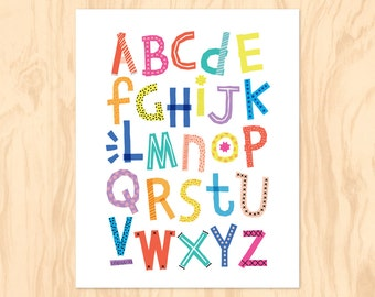 RAINBOW ALPHABET : Printable Art, Nursery Art, Kids Wall Art, Instant Download, Wall Art