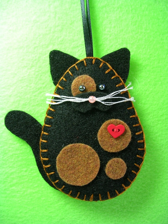 Tortoiseshell cat ornament tortie cat felt by msmuriel on etsy for Cat christmas ornaments craft