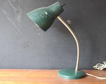 Vintage Mid Century Green Metal Gooseneck Lamp, Vintage Desk Lamp, Graduation Gift