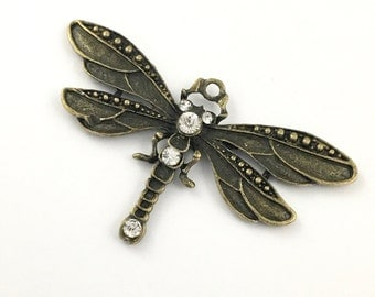 1 dragonfly pendant bronze tone  and green enamel, 45mm x 70mm # PEN 107