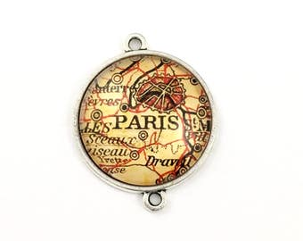 1 Paris map connector,glass and bronze tone,35mm #CON 278