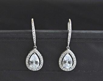 CZ jewelry,Cubic ziconia earrings, wedding jewelry, wedding earrings, bridal earrings, tear drop earrings, bridesmaid jewelry,Bridal Jewelry