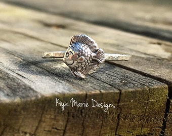 Fish Ring, tropical fish, skinny band stack ring, Sterling Silver Argentium Silver Stack Rings, Sea life nautical rings, beach ocean jewelry