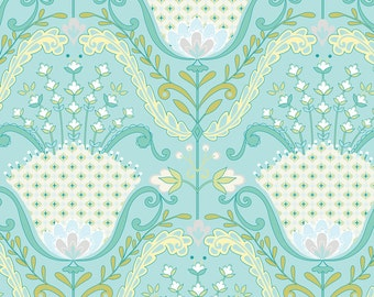 Floral Fabric by the Yard, Quilt, Cotton, Hyacinth, Damask, Nursery, Baby, Green, Blue, White, Feminine, Large Print, Upholstery, Decor