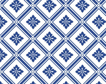 Delft Fabric by the Yard, Quilting, Floral, Blue, White, Large Print, Blue Moon, Medallion, Cobalt, Squares, Diamonds, Home, Decor