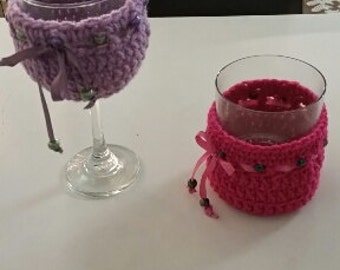 "Hand-Crocheted ""No Sweats"" Glass Cozies"