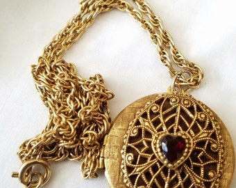 Vintage goldtone ruby red heart Filagree Locket Pendant