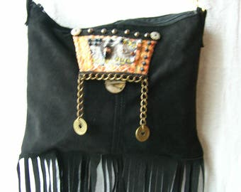 Bohemian suede Fringe Bag**Handmade**one of a kind**Gypsy Bag