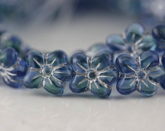 14mm Hawaii Flowers Table Cut Czech Glass Beads - Blue with Silver Inlay Pansy 10 Pcs.