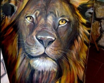 Lion portrait, oil on canvas