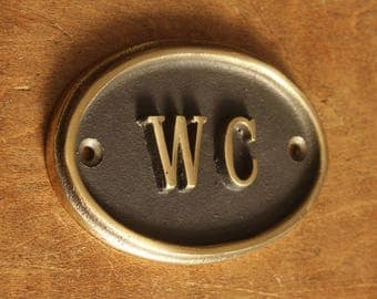 Solid Brass WC Toilet Door Sign -  Vintage Antique Victorian Cast Brass Loo Bathroom Water Closet Old Sign Cast Embossed Style ~ BATH-09-br