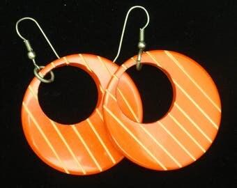 Funky Striped Orange Plastic Earrings