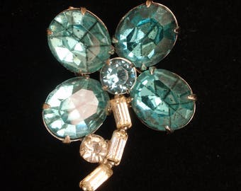 Blue 4-Leaf Clover Flower Pin Vintage Open Back Foiled Rhinestones