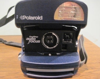 Polaroid One step camera Auto Focus blue with case