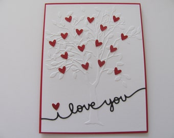 Valentine's Day Cards, Heart Cards, Heart Greeting Cards, Valentines Day Card for Him, Valentines Day Card for Her, Tree Embossed Heart Card
