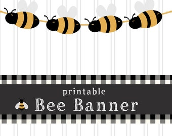 Bee Banner Printable Bumble Bee Garland Bee Party Decor