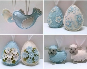Baby blue Easter ornaments, Felt easter decoration, white and blue felt eggs with flowers, Blue Easter decor - choose set of 2