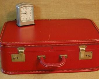 Vintage Suitcase, Vintage Mid Century Suitcase, Mid Century Luggage, Burgundy Suitcase, Old Suitcase, 1950's Suitcase, Luggage, Suitcase