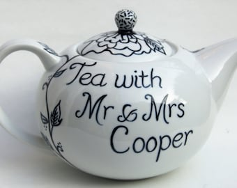 Mr and Mrs Teapot hand painted 6 cup personalised wedding teapot anniversary teapot