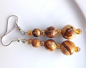 Dangle earrings,  Picture Jasper gem stone dangles for pierced ears.