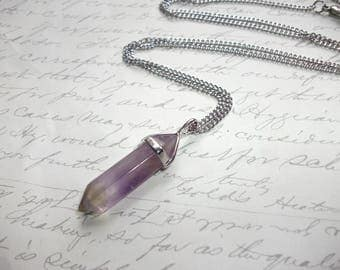 Amethyst crystal point pendant necklace