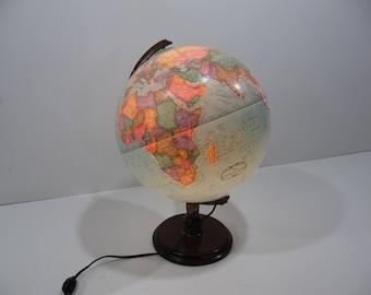 Vintage World Globe, Lighted World Globe, 12 Inch Globe, Replogle School Globe, World Map, Night Light