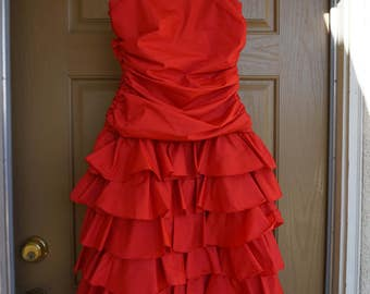 1980s red short prom dress with ruched costume party dress womens medium size 7