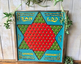 Vintage Chinese Checkers Game Board San Loo Metal Frame Checkerboard Retro Asian Wall Decor Wall Hanging 1940s 1950s  Ask a question