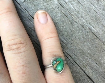 Australian Variscite and sterling silver ring