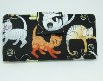 Cat Wallet, Ladies Bifold Clutch, Handmade Womens Wallet,  Clutch Wallet