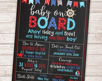 PRINTABLE Nautical Baby Shower Chalkboard - Pregnancy Chalkboard - Ahoy its a Boy Sign - Baby on Board Sign
