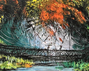 Oil Painting Art ZAIRE 1992 Original hand painted signed KASANDA French Africa canvas unique Congo picture jungle & bridge on the River