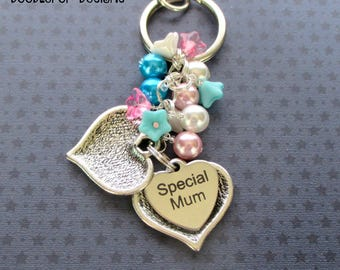 Special Mum keyring - Gift for Mum - Mother's Day gift - Pink and turquoise beaded bag charm for Mum - Secret message keyring - Mum gift