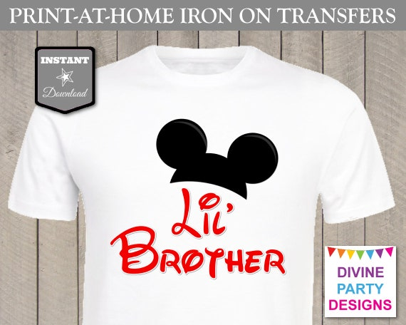 Instant download print at home mouse ears lil brother for Instant t shirt printing