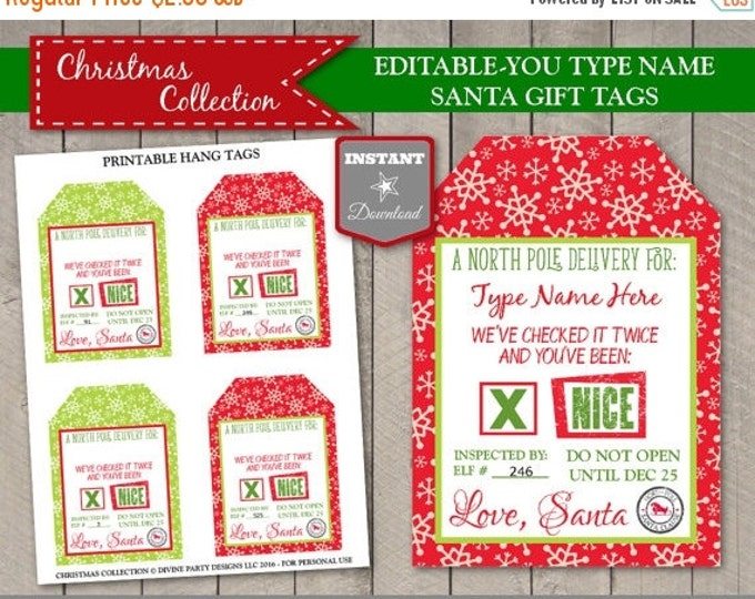 SALE INSTANT DOWNLOAD Printable Editable Christmas Santa Claus North Pole Gift Tags / Type in Name / Christmas Collection
