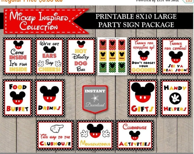 SALE INSTANT DOWNLOAD Printable Classic Mouse Large 8x10 Sign Package / 12 Signs / Free Condiment Labels / Classic Mouse Collection / Item #