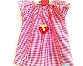 Red gingham tunic blouse Strawberry