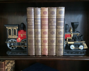 Cast Iron Train Engine Bookends