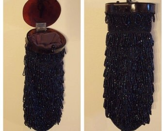 ART DECO Evening Bag with Blue Iridescent Beads - Excellent Condition!