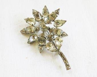 Vintage Flower Rhinestone  Brooch Pin