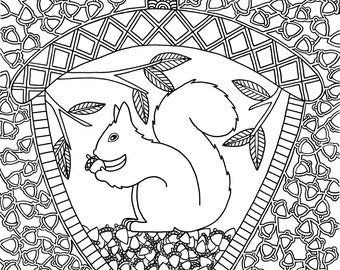 Squirrel Digital Download Coloring Page
