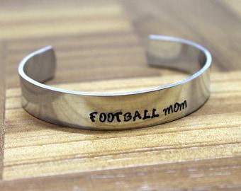Football Mom Bracelet / Mother's Day Gift / Hand Stamped Bracelet / Sports Bracelet / Basketball Bracelet / Soccer Team Bracelet